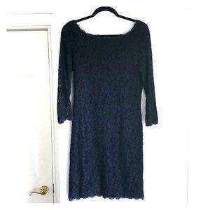 Diane Von Furstenberg Navy Lace Dress with zipper
